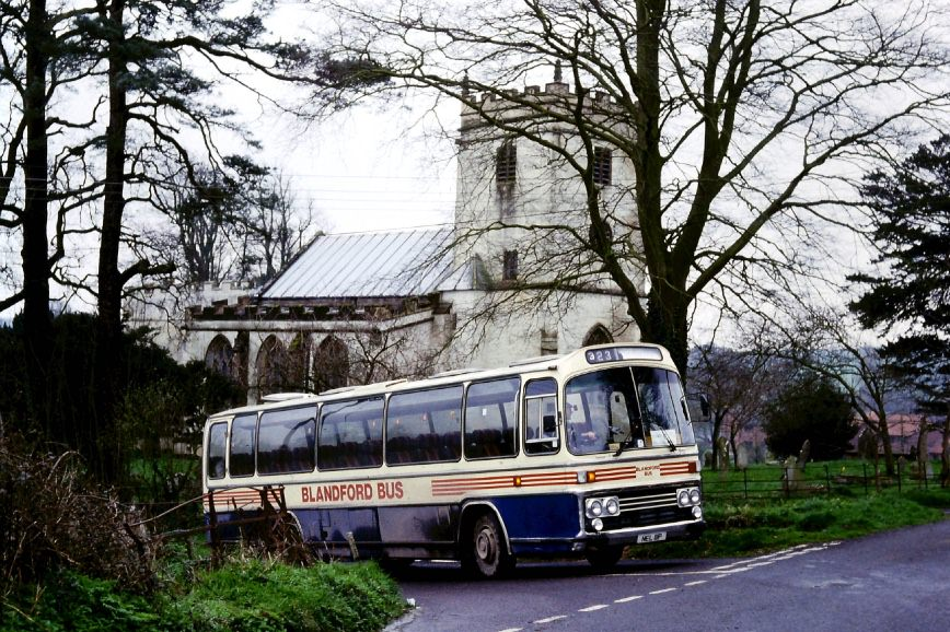 Leyland Leopard at Buckland Newton church
