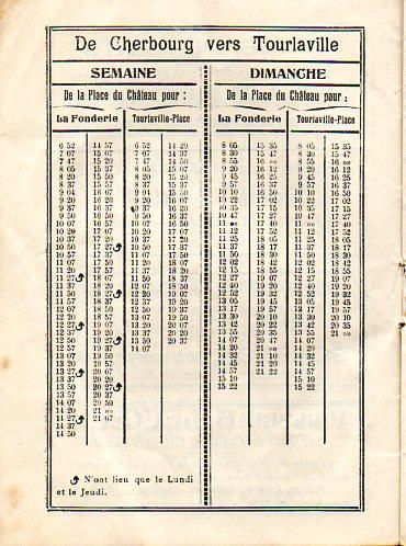 Tram timetable Tourlaville 1936