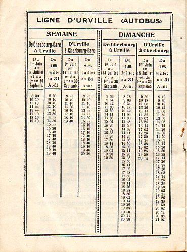 CTC bus timetable Urville 1936