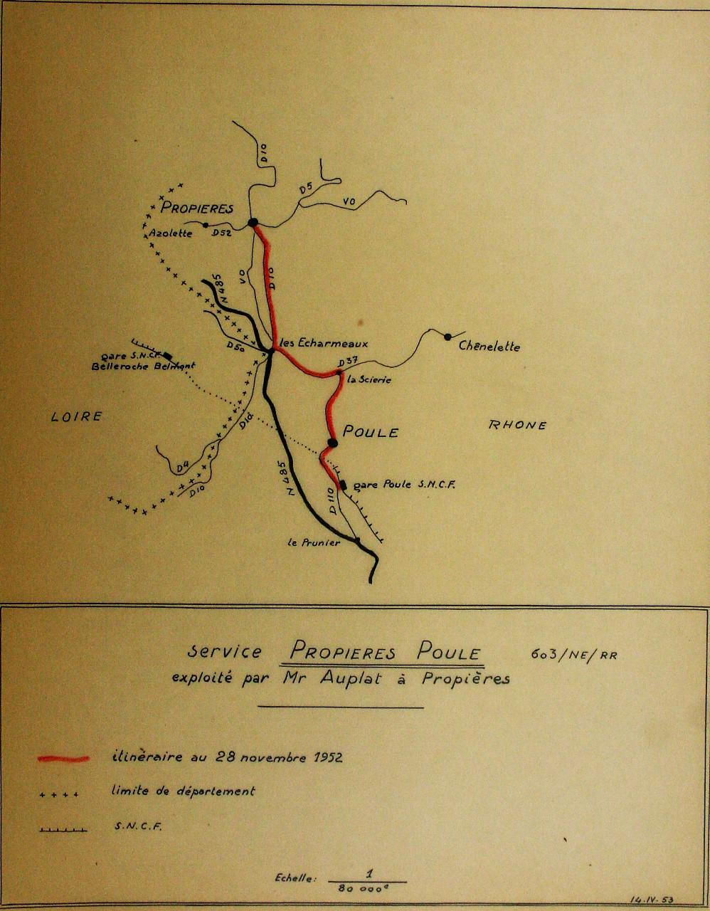 Propieres to Poule route in 1952