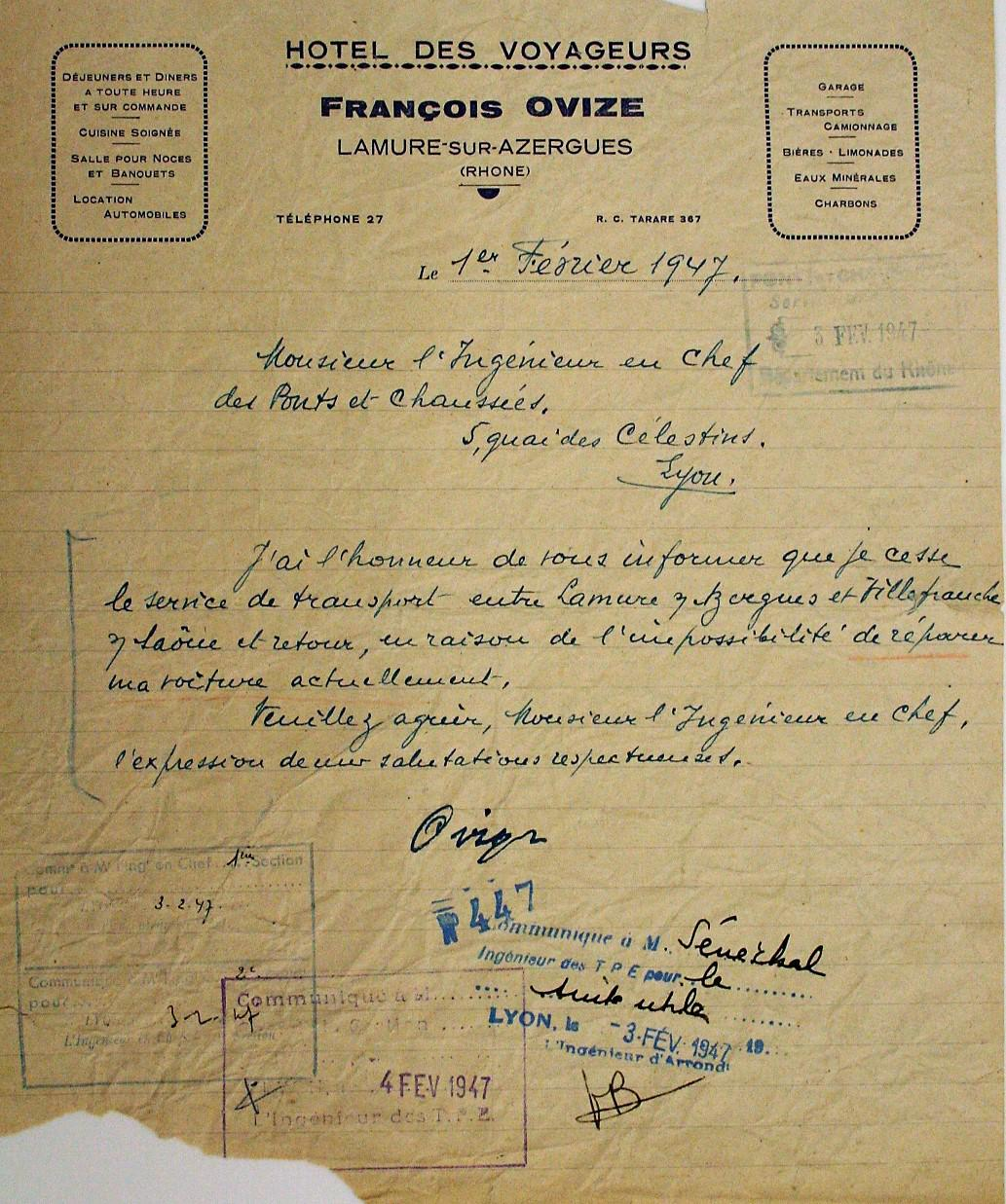 François OVIZE's letter of explanation
