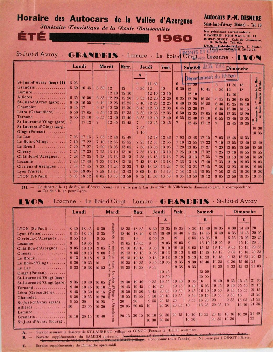 1960 Lyon - Grandris timetable
