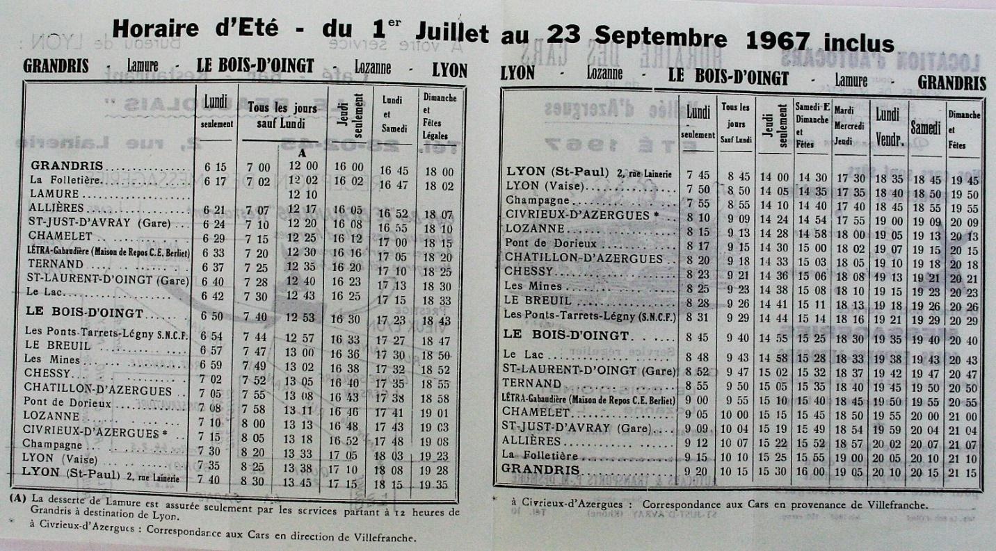 1967 Lyon - Grandris timetable