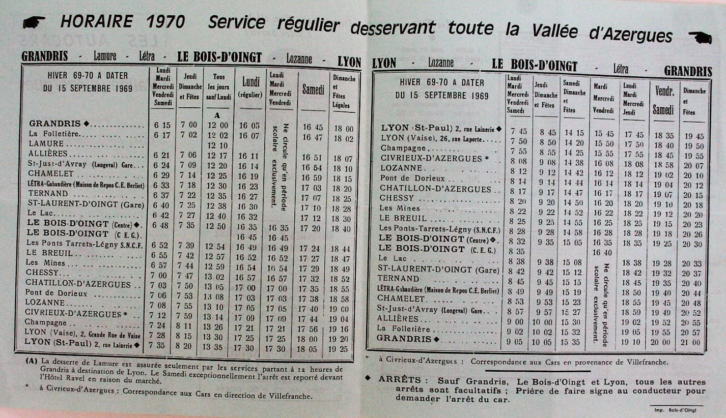 1970 Lyon - Grandris timetable