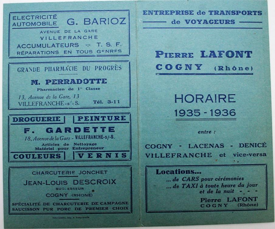 Cogny to Villefranche – Timetable for 1935 - 1936