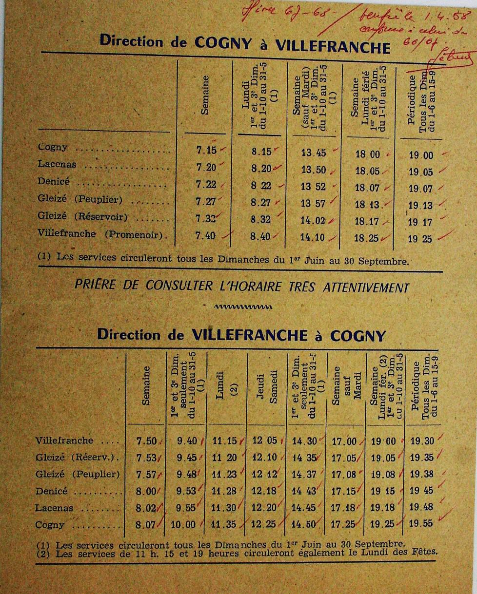 1967 Timetable