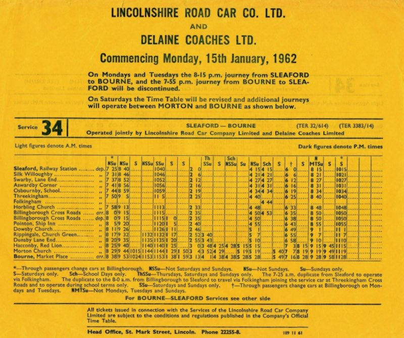 Timetable for joint service to Sleaford
