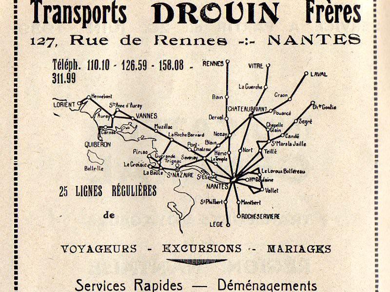 1939 map drouin routes