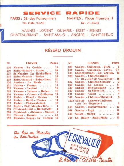 list of routes 1961 lignes