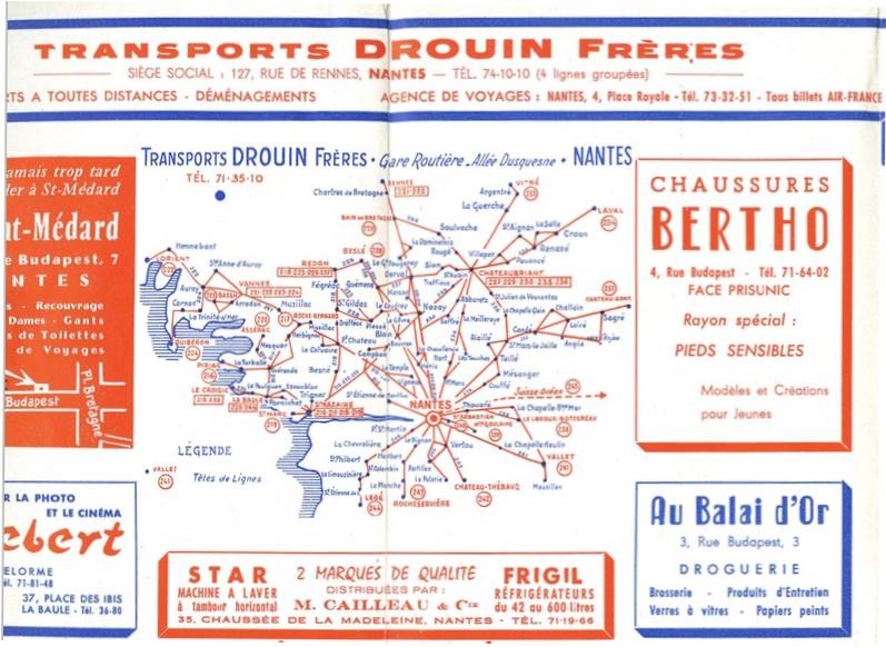 plan Drouin 1961 lignes routes