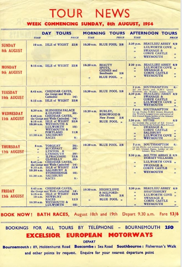 1954 day tours leaflet