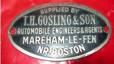 vehicle plate from T H Gosling
