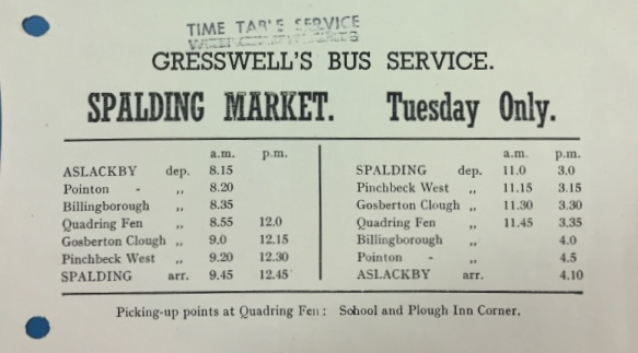 Gresswell Spalding timetable