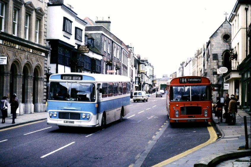 Herrison bus arriving in Dorchester