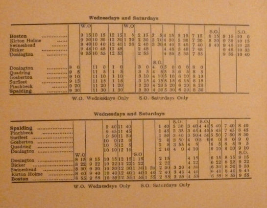 1947 timetable