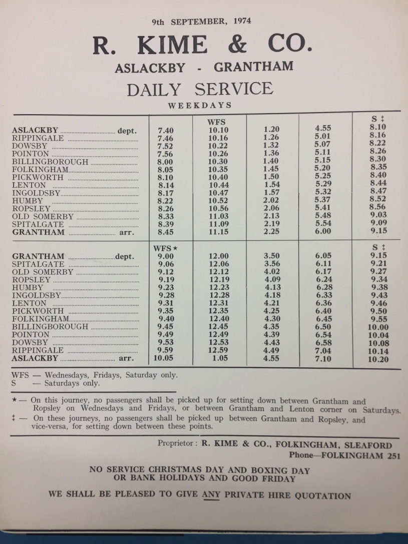 1974 timetable daily to Grantham