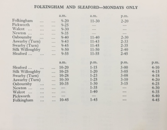 booklet Sleaford timetable