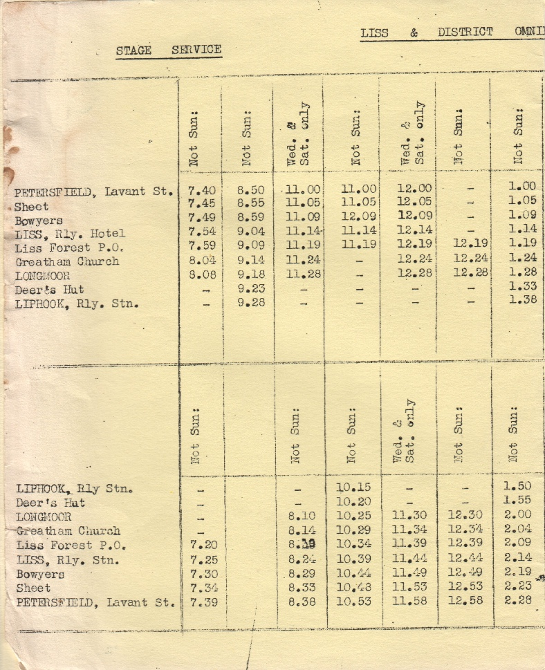 first half of Liss route 1 timetable 1964