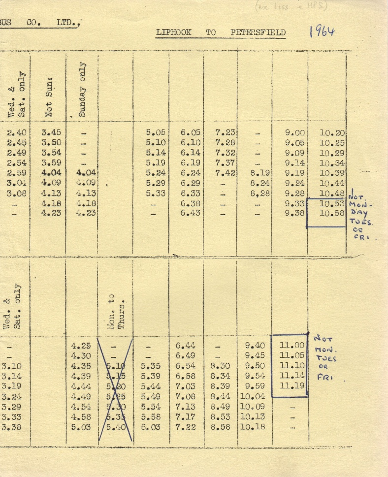 second half of Liss route 1 timetable