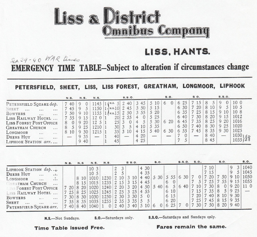 wartime timetable 1939-1940