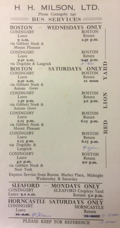 pre-1960 Milson timetable