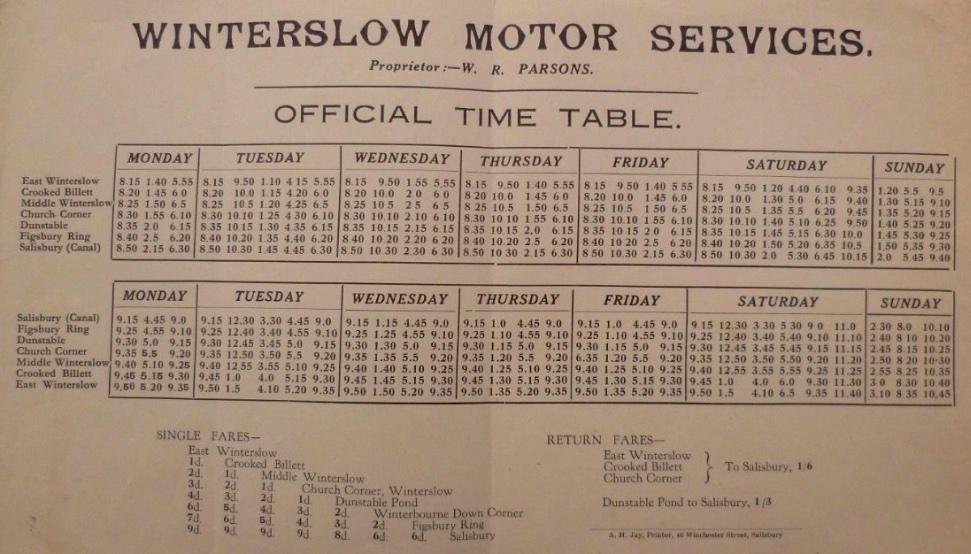 Parsons timetable leaflet pre-war 1937