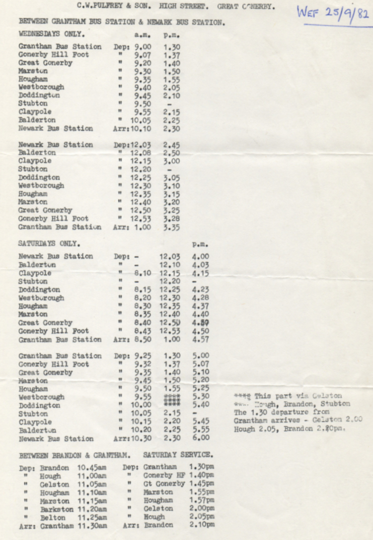 1982 Pulfrey timetable Grantham to Newark route