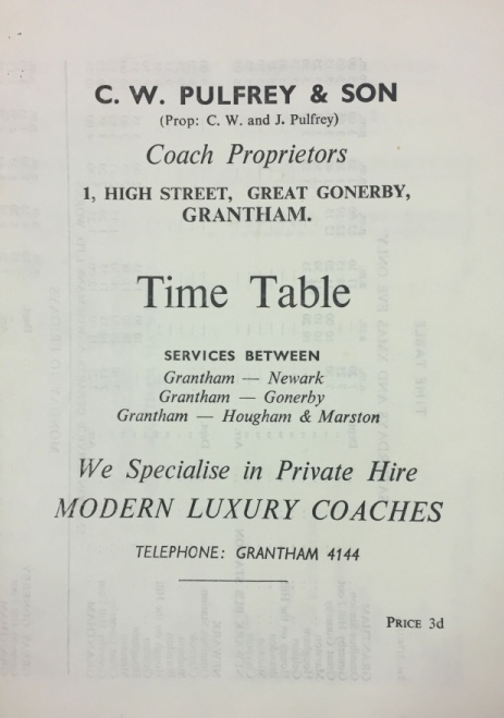 Pulfrey timetable cover 1962/1963