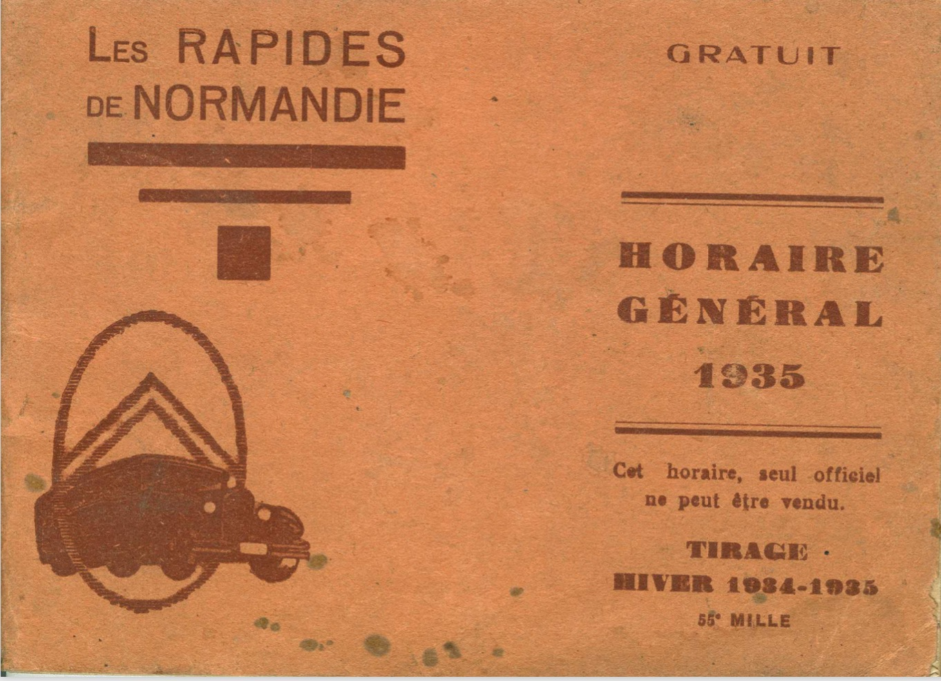 cover of 1935 Rapides timetable