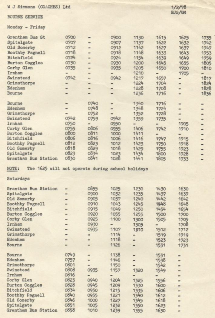 1978 timetable Grantham - Bourne