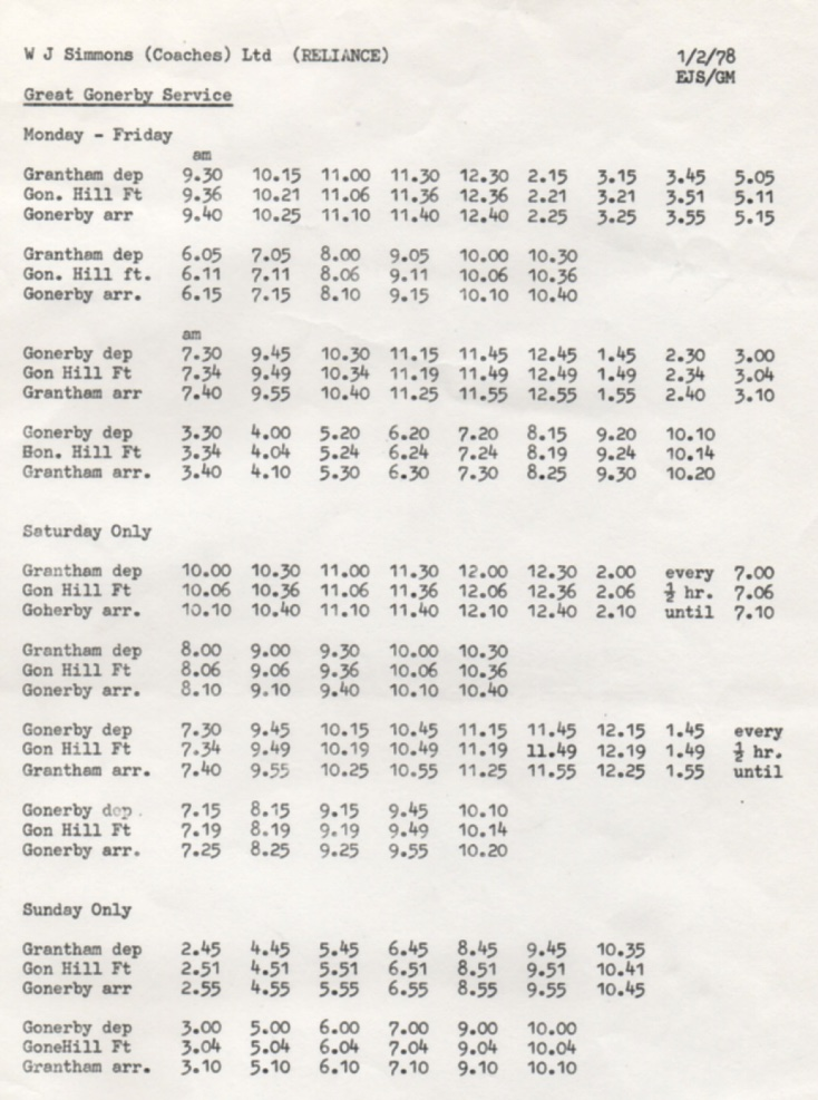 1978 timetable Grantham - Great Gonerby