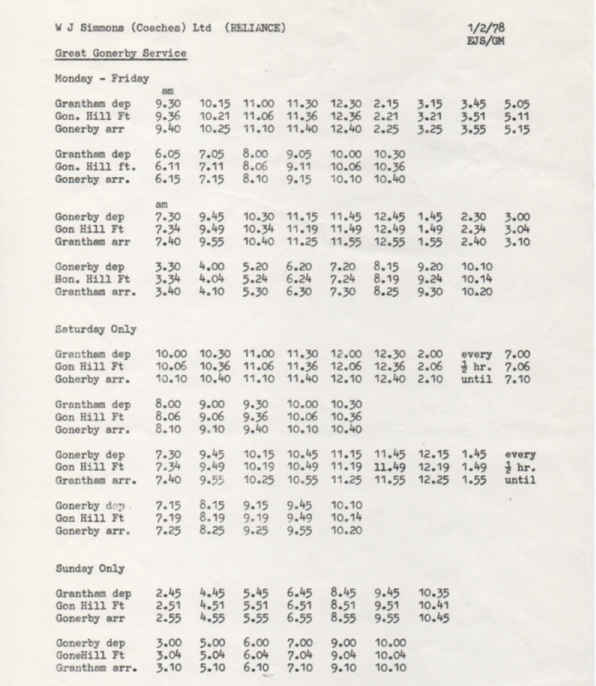 1978 timetable Reliance Great Gonerby route