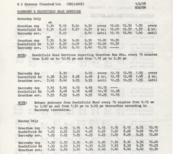 Reliance 1978 timetable Barrowby weekends