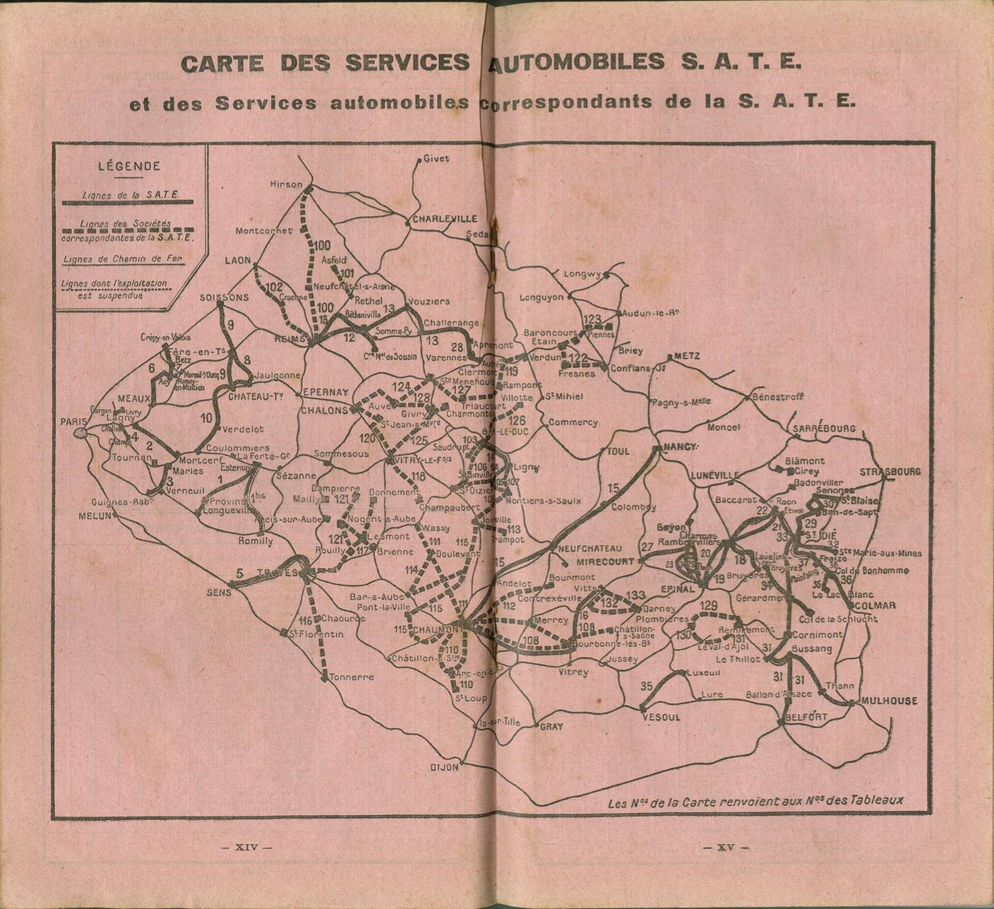 map from SATE 1932 timetable
