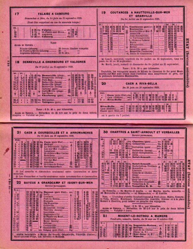 SATOS 1929 timetable page
