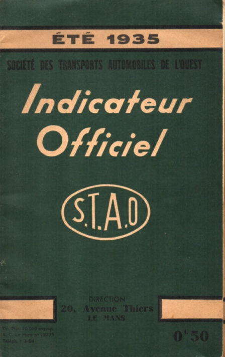 cover of 1935 STAO timetable