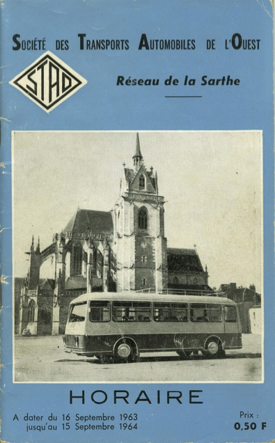 cover of 1963 STAO timetable booklet for Sarthe