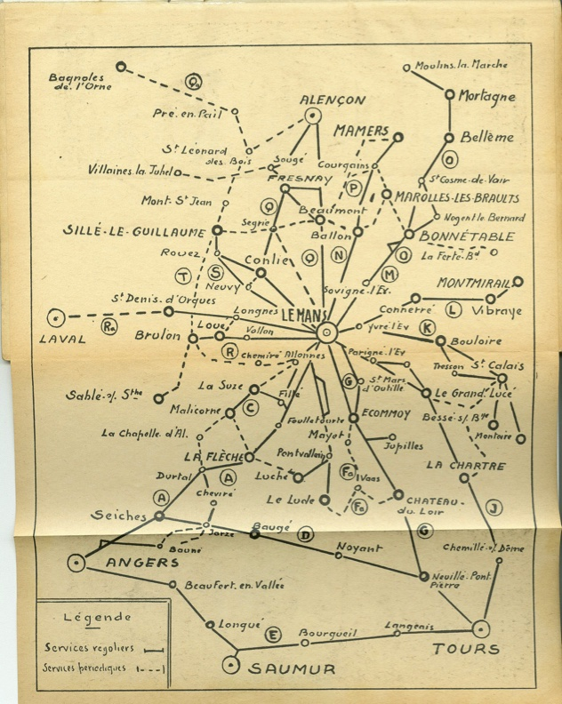 map of STAO routes in Sarthe 1963