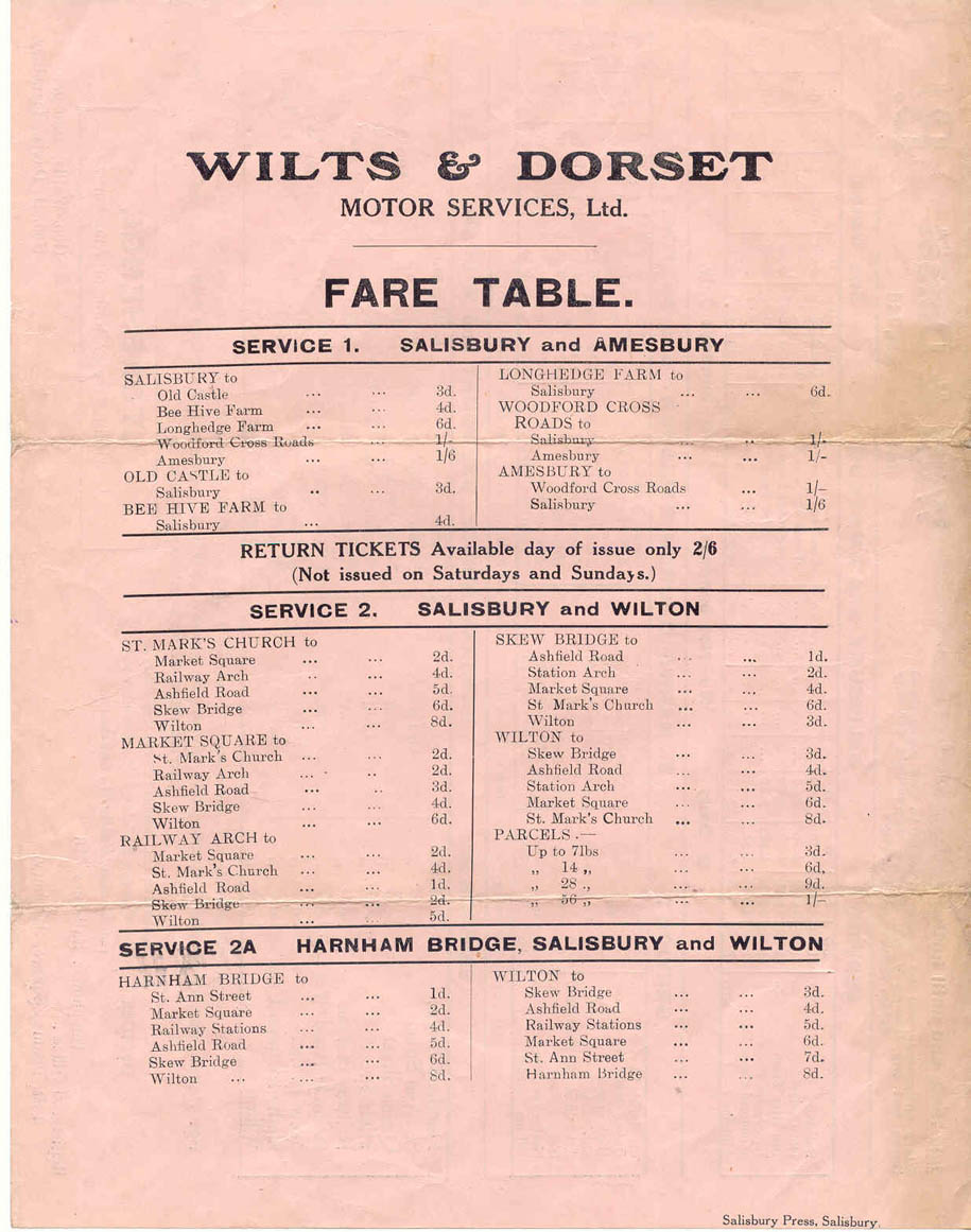 wilts and dorset 1920 fares