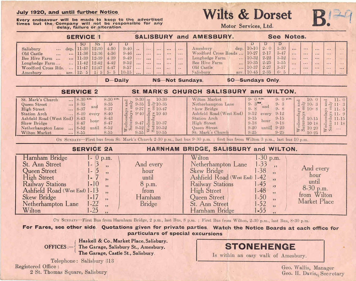 wilts and dorset 1920 timetable