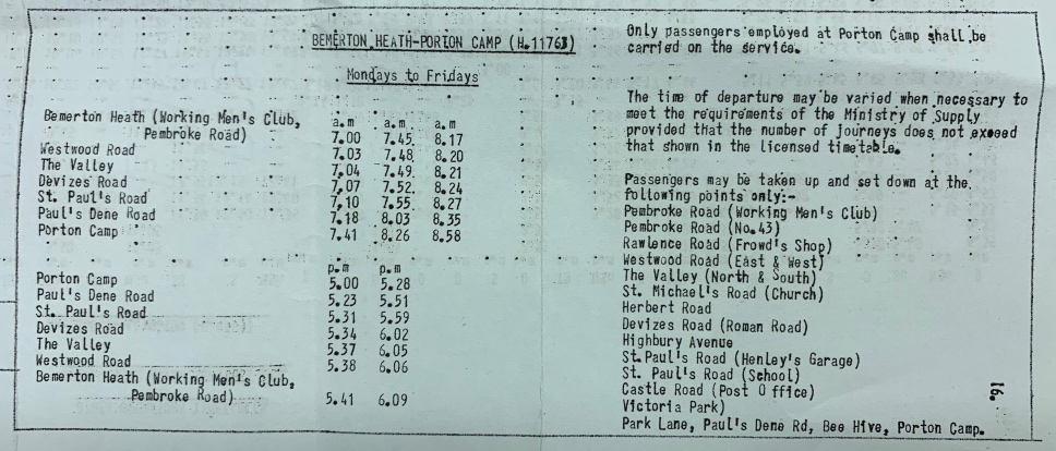 Porton Workers service timetable 1958
