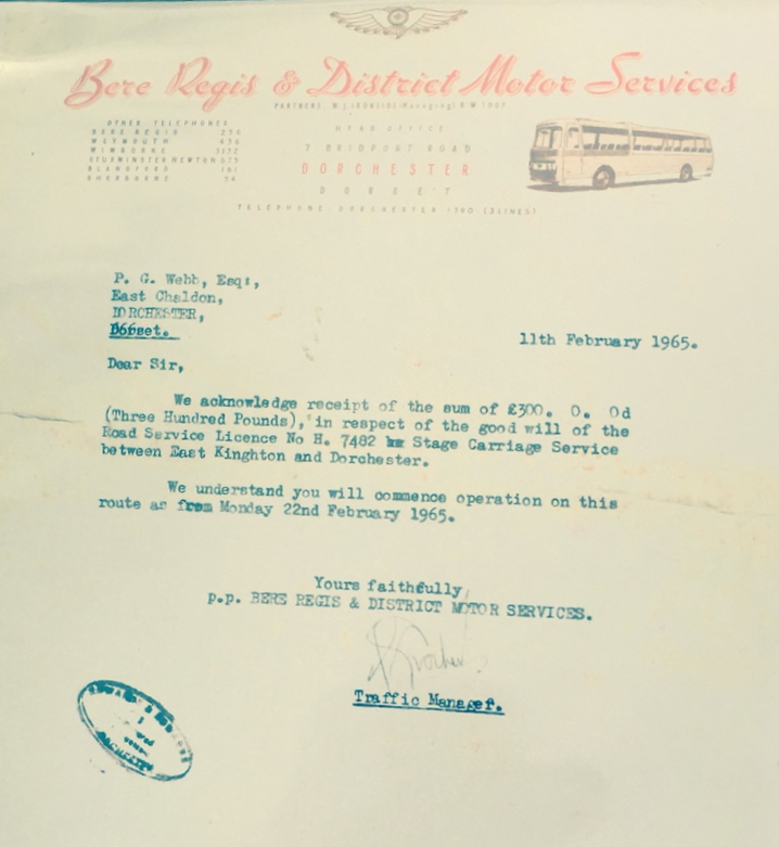 letter confirming sale of competing Bere Regis route to Dorset Queen in 1965