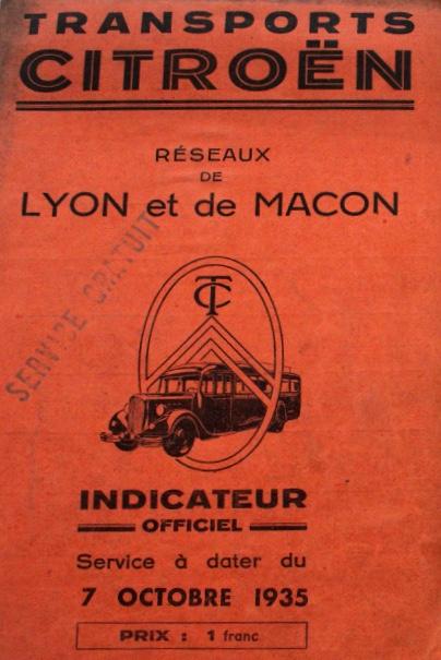 cover of 1935 TC Lyon timetable