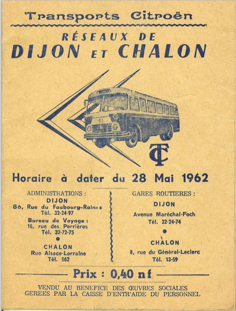 cover of 1962 timetable Dijon and Chalon
