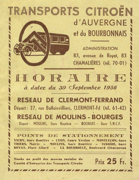 1956 timetable cover auvergne