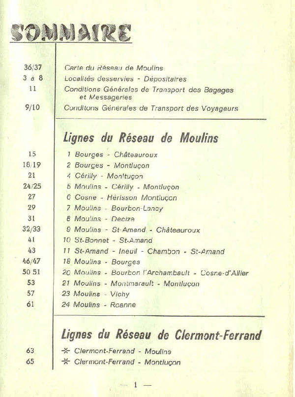 moulins list of routes