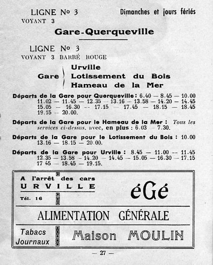 ligne 3 timetable 1962