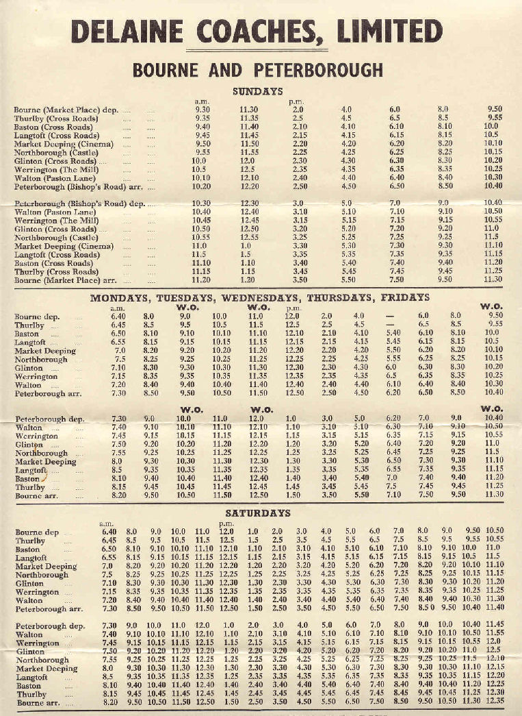 old timetable