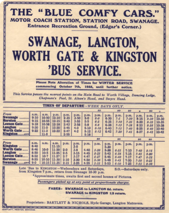 Winter 1935 timetable Swanage to Kingston