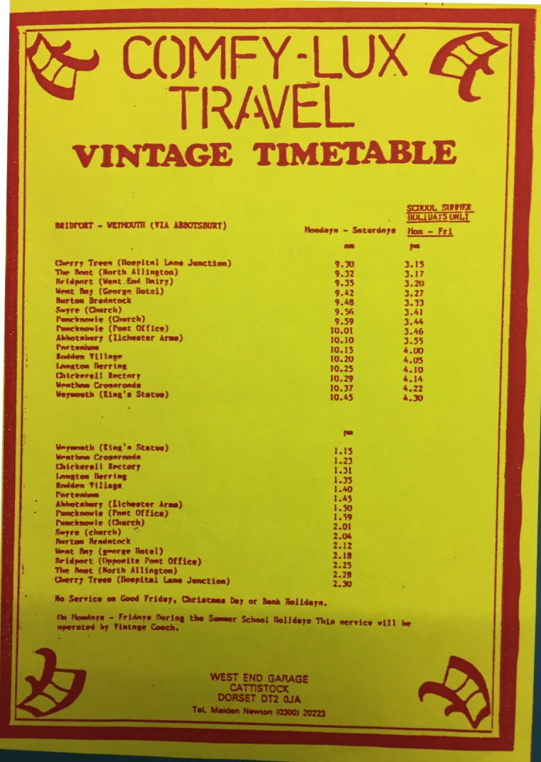 Comfy-Lux summer 1988 coastal service timetable